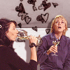 princessofgeeks: sam and vala from sg1 drink wine under a cloud of hearts (girltime by magnavox)