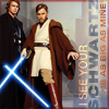 eleanorjane: Anakin and Obi-wan with lightsabers (schwartz)