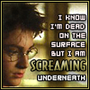 sidravitale: Harry Potter screaming underneath LJ icon by fire_bad (harry potter screaming underneath)