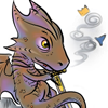yue_ix: Chibified dragon doodling on Excalibur's blade, with a tiny crown and magical hat floating around (Artistic dragon)