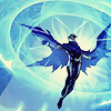 jet: Wiccan from Young Avengers in the air surrounded by glowing blue magic (billy is a beautiful butterfly)