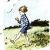 turlough: art of Christopher Robin walking in in a meadow eating an apple ((pooh) over the hills and far away)