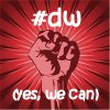 muse: red image of a fist with text #dw we can do it (#dw, fist, wecandoit)