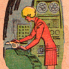melannen: a '60s woman operating a computer with ticker tape and blinkenlights  (computers)