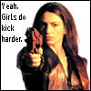 jmtorres: Aeryn from Farscape points a gun at you. Yeah, girls do kick harder.  (leather, aeryn, kickass)