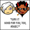 "jmtorres: Good Omens chibis. ""Was it good for you, too, angel?"" (gaiman, good omens, post-coital)"