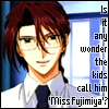jmtorres: Aya from Weiss Kreuz undercover as a teacher. Text: Is it any wonder the kids call him 'Miss Fujimiya'? (aya, engrish, Gluhen, school, genderbending)