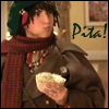 jmtorres: The arch-elf from the movie Santa Clause, with pita. (santa clause, food, holidays, Bernard)