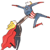 fizzyblogic: [Avengers] fanart of Thor holding Captain America up in a (dance) lift (shine like the sun)