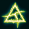 isah: Eerie glowing green symbol on a dark blue background (abhorsen)