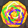 elf: Stained glass interlocking pentagons (Law of Fives)
