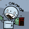 zarhooie: picture of small robot eating a box of pocky. Caption: OMNOMNOM (Random: omnomnom)