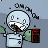 zarhooie: picture of small robot eating a box of pocky. Caption: OMNOMNOM (Random: omnomnom)