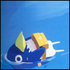 yati: A prinny (from the video game Phantom Brave) floating in the water. (we'll go with the river's flow)