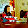 "ninamazing: Mac from Veronica Mars typing away as usual (FTW!), with the words ""genius at work"" in Courier font. (this is what I do)"