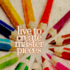 "honeyelle: shows coloured pencils with ""i live to create master pieces"" (creativity)"