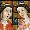monksandbones: A detail of a medieval illumination featuring two singing monks, one in a red cowl and one in a pink one (even more inappropriate monk love)