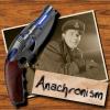"kerravonsen: Jack Harkness B/W photo, sonic gun: ""Anachronism"" (anachronism)"