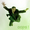 "kerravonsen: Neo falling, flailing his arms: ""oops!"" (oops)"