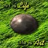 "kerravonsen: Stone egg on moss: ""Art is Life, Life is Art"" (art)"