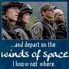 "kerravonsen: Stargate team looking right: ""...and depart on the winds of space, I know not where."" (winds-of-space, SG1)"