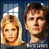"""kerravonsen: Buffy and the Tenth Doctor in front of the TARDIS: """"World Savers"""" (world-savers, BuffyDoc)"""