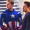 scrollgirl: steve in cap uniform and tony in black sabbath long-sleeved shirt (marvel steve/tony)