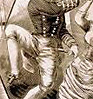 vass: A sepia-toned line-drawing of a man in naval uniform dancing a hornpipe, his crotch prominent (Hornpipe)