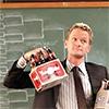 healingmirth: Neil Patrick Harris as Barney with a six-pack of beer (NPH)