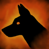baskerville: Black dog head facing left on a background of fiery red (Hellhound red)