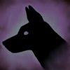 baskerville: Black dog head facing left on a background of ghostly blue and lilac (Hellhound blue)