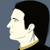 baskerville: Suitov Iceheart's face in profile. He's a pale-skinned, dark-haired young adult male wearing black and gold. (Suitov)