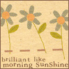 "yati: flowers on a tan background, and the words ""brilliant like morning sunshine"" at the bottom (brilliant like morning sunshine)"
