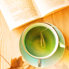 moonplanet: Green tea and a book and an autumn leaf (greentea-and-book)