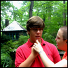 pinesandmaples: My little brother and I, standing in the woods.  (family: picking chin)