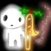 silveradept: A kodama with a trombone. The trombone has a sprig of holly and is emitting sparkles, and is held in a rest position (VEWPRF Kodama)