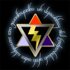 silveradept: A star of David (black lightning bolt over red, blue, and purple), surrounded by a circle of Elvish (M-Div Logo)