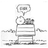 silveradept: Charles Schulz's Charlie Brown lays on Snoopy's doghouse, sighing. (Charlie Brown Sighs)
