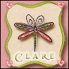 clare_dragonfly: pink dragonfly in green frame, text: Clare (!Clare-Dragonfly)