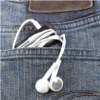 sylvaine: mp3-player with earphones in back pocket of jeans. ([gen:mus] music ♥)