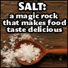 "ladyvyola: quote: ""SALT: a magic rock that makes food taste delicious"" (magically delicious)"