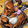 muccamukk: Luke Cage holding his baby daughter. (Marvel: Cute baby!)