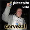 "zorkian: Mark holding up a beer with text: ""Necesito una cerveza!"" (cerveza)"
