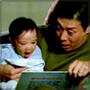 gloss: man reading to happy baby (Lost: omg!yay!)