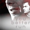 """doctor_and_master: Ten superimposed over lower half of Simm!Master's face with caption """"You better run"""" (Icon_AC2)"""