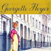 "cesy: ""Georgette Heyer"" with a picture of a girl in Regency dress (Heyer)"