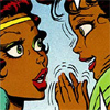 zillah975: From Elfquest, Shenshen and Leetah. Shenshen is excited about recieving her first sending from Leetah. (Glee)