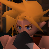 firefly99: A blocky, old-school screenshot from FF7, showing Cloud, a man with spiky hair, squeezing his nose in thought (FF7 - Cloudthink)