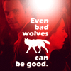 liz_marcs: Community Jeff (Vampire)/Annie (Werewolf) with Bad Wolf mash-up from Doctor Who (Annie_Community_Bad Good Wolf)