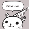 partytime: (party cat is excited for party times.)